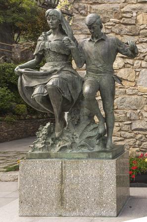 Statue in honor of the centenary of the New Reformation (1866-1966), located in the Plaza de la Vall. Andorra la Vella