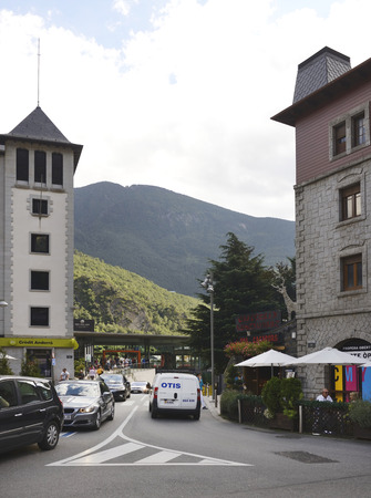 ANDORRA LA VELLA, ANDORRA-SEPTEMBER 9-  Residents and tourists stroll through the streets on September 9,2014 in Andorra la Vella