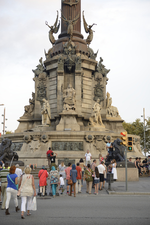 Barcelona,Spain-September 13,2014 : Tourists visiting the monument to Columbus