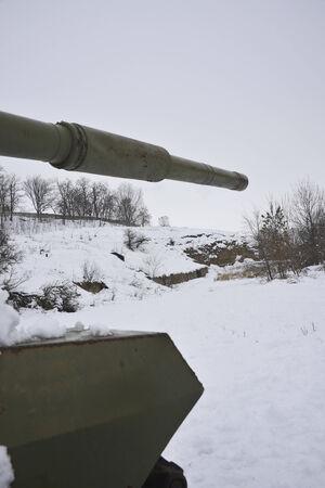 Russian  tank in attack Stock Photo