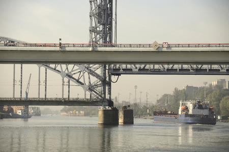 drawbridge: Passage of the ship under the drawbridge morning in Rostov-on-Don Editorial