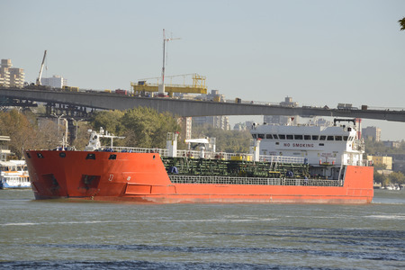 superstructure: Cargo ships on the River Don in Rostov-on-Don