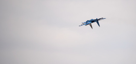 modern fighter: Rostov-on-Don, Russia- March 21, 2015:  Aerobatic team Russian Knights on the Su-27 at the event for the 70th anniversary of Victory in Great Patriotic War