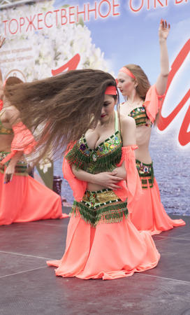Rostov-on-Don, Russia- May 1, 2015: Girls flashing dance on May 1