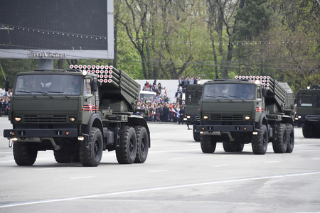 Rostov-on-Don, Russia- May 9, 2015: Parade in honor of the 70th anniversary of the Victory