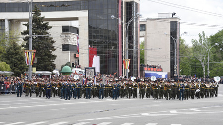 may 9: Rostov-on-Don, Russia- May 9, 2015:  Parade in honor of the 70th anniversary of the Victory