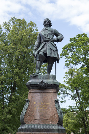 the founder: Kronstadt, Russia- July 9,2015: Monument to the founder of Kronstadt Peter 1. Opening the creation of sculptor Theodore-Joseph-Napoleon Jacques happened July 9, 1841.