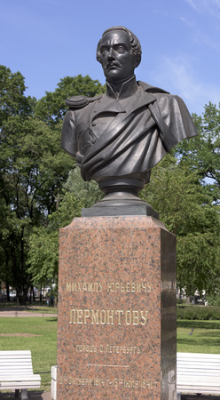 alexander the great: The great Russian poet Mikhail Lermontov (1814-1841) erected a monument in the Alexander Garden St. Petersburg.Author V.Kreytan