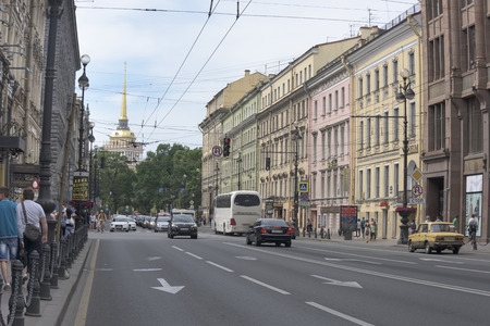 nevsky: Saint-Petersburg, Leningrad region, Russia - July 4, 2015:  Nevsky Avenue with moving on it pedestrians and cars