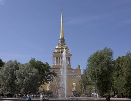 Saint-Petersburg, Leningrad region, Russia - July 4, 2015:  Admiralty. The complex of buildings on the 2nd Admiralty Island, located on the banks of the River Neva, a significant architectural monument of Russian Empire