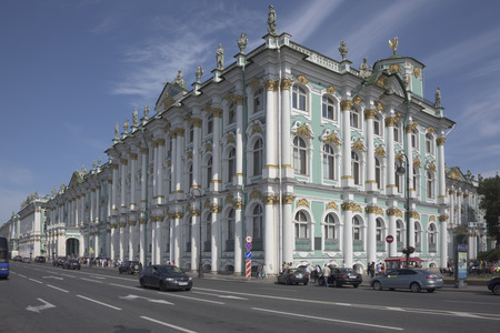 Saint-Petersburg, Leningrad region, Russia - July 4, 2015: Winter Palace of boiling life around him