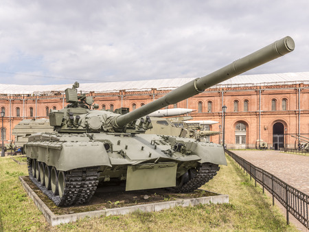 RUSSIA; SAINT-PETERSBURG - JULY 8 - T-80 - the main battle tank produced in the USSR. The worlds first production tank with a single gas turbine power plant. In service since 1976 in military history museum  on July 8; 2015 in St. Petersburg Editorial