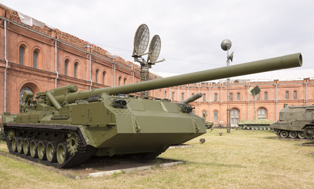 pion: RUSSIA; SAINT-PETERSBURG - JULY 8 -  The record powerful artillery in the world of self-propelled 2S7 Pion( 203 mm) in military history museum  on July 8; 2015 in St. Petersburg