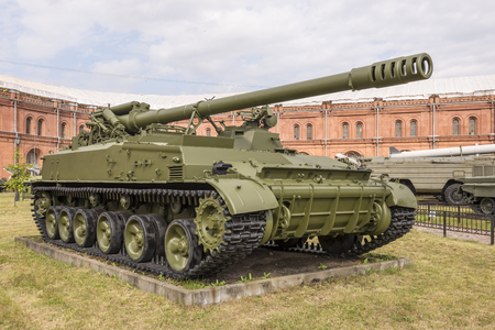 RUSSIA; SAINT-PETERSBURG - JULY 8 - 152-mm self-propelled gun 2S5 Hyacinth-S, mod.1975. Massa kg:setting - 28200, shell - 46 in military history museum on July 8; 2015 in St. Petersburg