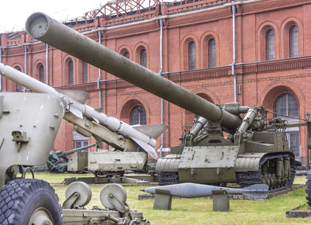 RUSSIA; SAINT-PETERSBURG - JULY 8 - 420-mm self-propelled mortar 2B1 Oka mod.1959. Weight, kg: installation - 55000, booby-670  in military history museum  on July 8; 2015 in St. Petersburg