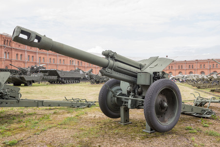 d1: RUSSIA; SAINT-PETERSBURG - JULY 8 - 152-mm howitzer D-1 mod.1943.Weight, kg: guns-3600, shell-40 in military history museum  on July 8; 2015 in St. Petersburg