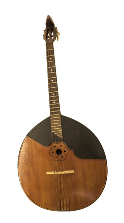 workmanship: Tenor Domra. String plucked musical instrument,  Moscow. 1962. Is isolated on the white