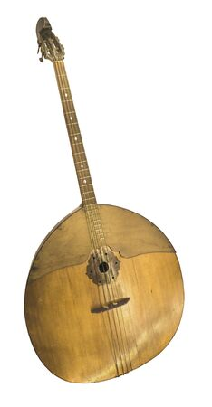 contrabass: Contrabass Domra. String plucked musical instrument, Russia.1915-1940s. Is isolated on the white