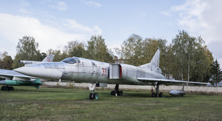 variable: MONINO, MOSCOW REGION, RUSSIA- OCTOBER 8- Tu-22M, the first Soviet supersonic long-range variable sweep wing jet  bomber (1969) on October 8; 2015 in Central Museum of the Russian Air Force, Monino