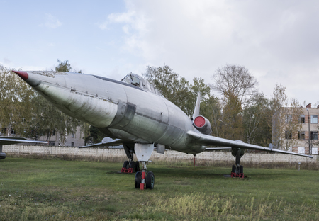 supersonic: MONINO, MOSCOW REGION, RUSSIA- OCTOBER 8- Tu-22, Supersonic long-range bomber (1959) on October 8; 2015 in Central Museum of the Russian Air Force, Monino