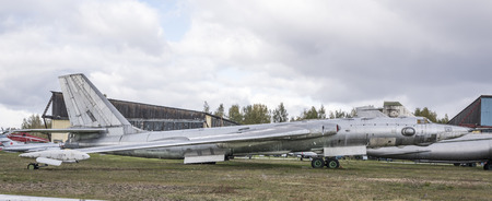 bomber: MONINO; MOSCOW REGION; RUSSIA- OCTOBER 8- 3M- Jet strategic bomber (1956).The first Soviet strategic intercontinental jet bomber on October 8; 2015 in Central Museum of the Russian Air Force; Monino Editorial