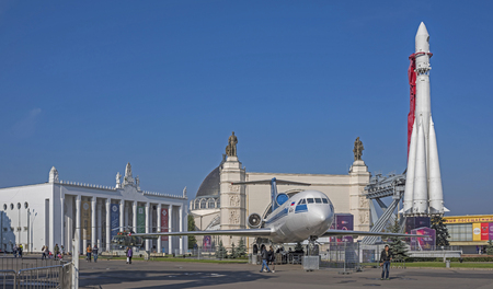 vostok: MOSCOW, RUSSIA- OCTOBER 5-  Spectators visiting spacecraft Vostok, planes and helicopters at the VDNH( Exhibition of Economic Achievements) on October 5; 2015 in Moscow