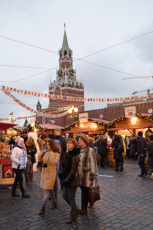 red square: Moscow; Russia- December 13; 2015:  Citizens visited the New Years Fair in Red Square