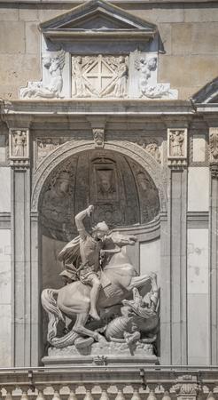 Barcelona,Spain-September 9,2014 : Sculpture at the Palace of the Generalitat (Palau de la Generalitat)