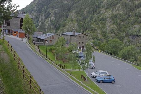 The road France through Andorra, in the early morning Stock Photo