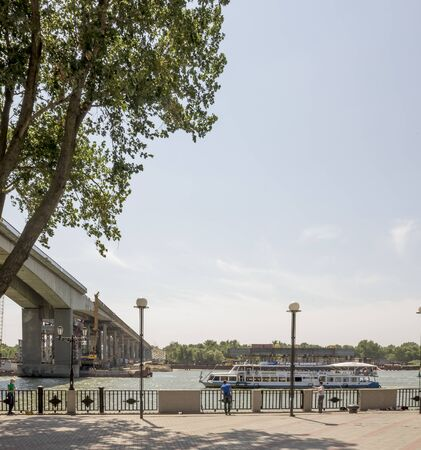 Rostov-on-Don; Russia- July 27; 2014: Two bridges. Construction of new and repair old on Rostov-on-Don