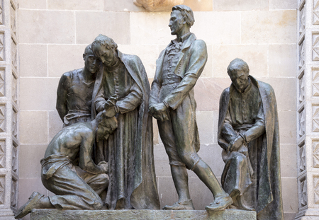 honors: Barcelona,Spain-September 9,2014 :  Monument to the martyrs of 1809. It honors the memory of men executed during Napoleonic occupation (Sculptors:Josep Llimona i Bruguera,Vicenc Navarro i Romero) Editorial