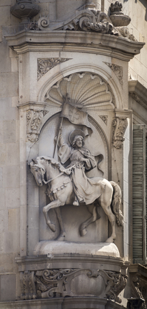 generalitat: Barcelona,Spain-September 9,2014 :The sculptural bas-relief on the building