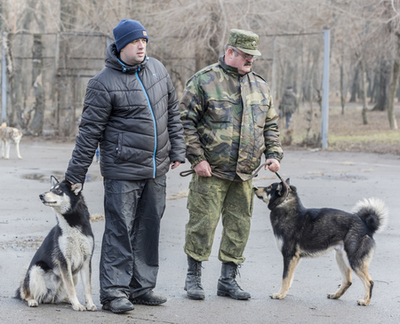 Rostov-on-Don,Rostov region,Russia- December 26; 2015: The owners of dogs demonstrated at the exhibition dog Editorial