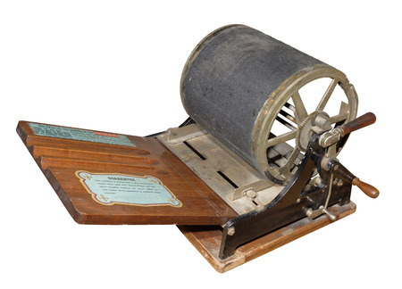 screen printing: Mimeograph- screen printing machine,1909. Is isolated on white Stock Photo