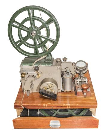 telegrama: Tel�grafo para enviar y recibir caracteres del c�digo Morse (1953). Est� aislado en el blanco