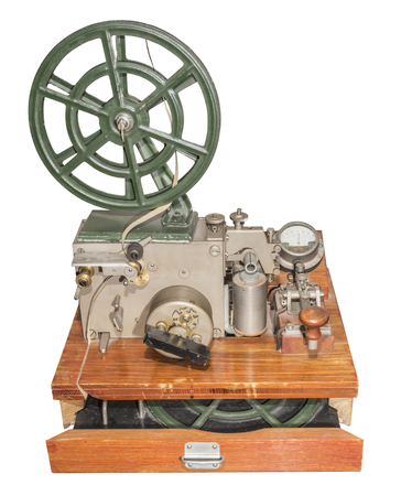 telegraphic communication: Telegraph to send and receive Morse code characters (1953). Is isolated on the white