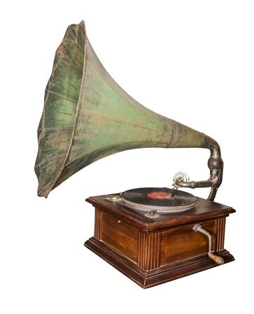 reproducing:  Gramophone - device for reproducing sound recorded on gramophone record(1920). Is isolated on the white Stock Photo