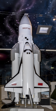 astronautics: MOSCOW; RUSSIA- OCTOBER 06- The production model of the orbital spaceship Buran in Space Museum on October 06; 2015 in Moscow