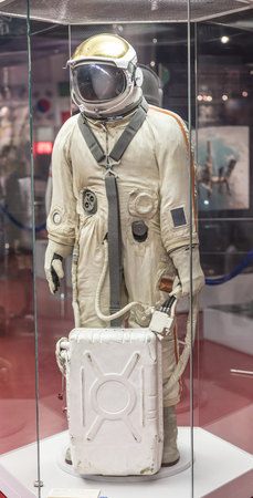 satchel: MOSCOW; RUSSIA- OCTOBER 06- The suit Hawk with a satchel life-support systems in Space Museum on October 06; 2015 in Moscow Editorial