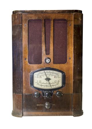 shortwave: Radio receiver Production in 1936. Is isolated on white (meters, kilohertz, megahertz)