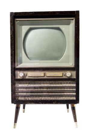 televisor: TV mid- 20th century. Is isolated on white Stock Photo