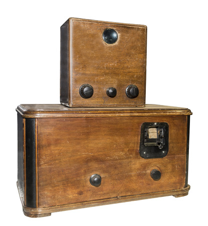 lupa: The first Soviet serial televizor.Lupa increased screen size to 3x4 sm.Model 1934.Is isolated on white
