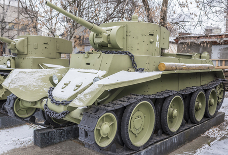 invincible: MOSCOW, RUSSIA- DECEMBER 16- Soviet light tank BT-7, year of release - 1935 at the Central Museum of the armed forces  on December 16; 2015 in Moscow