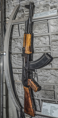 ak47: MOSCOW, RUSSIA- DECEMBER 16- 7.62 mm Kalashnikov submachine gun sample system in 1947. (AK-47). Joseph Stalin was demonstrated among the first mass-produced machines  at the Central Museum of the armed forces  on December 16; 2015 in Moscow