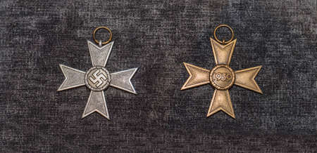 cross armed: MOSCOW, RUSSIA- DECEMBER 16- The Nazi cross For Military Merit 2nd class at the Central Museum of the armed forces  on December 16; 2015 in Moscow Editorial