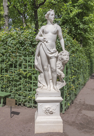 garden staff: RUSSIA; SAINT-PETERSBURG - JULY 5 - The sculpture Allegory of sincerity in the Summer Garden on July 5; 2015 in St. Petersburg
