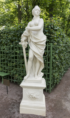 allegory: RUSSIA; SAINT-PETERSBURG - JULY 5 -The sculpture Allegory of Justice in the Summer Garden on July 5; 2015 in St. Petersburg
