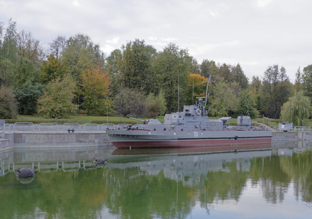 border patrol: MOSCOW, RUSSIA- OCTOBER 7- Border patrol boat Bumblebee in the Central Museum of the Great Patriotic War on October 7; 2015 in Moscow