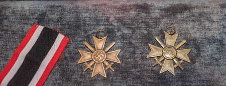 cross armed: MOSCOW, RUSSIA- DECEMBER 16- The Nazi cross For Military Merit 2nd Class with Swords at the Central Museum of the armed forces  on December 16; 2015 in Moscow