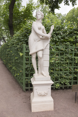 garden statuary: RUSSIA; SAINT-PETERSBURG - JULY 5 -The sculpture Allegory of architecture in the Summer Garden on July 5; 2015 in St. Petersburg